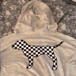 Grey hooded long sleeve tee